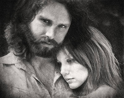 Music Drawings - Jim and Pam by Zapista Zapista