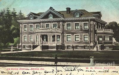 Photograph - Jim Bardin Hospital Salinas California Circa 1905 by California Views Mr Pat Hathaway Archives