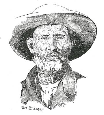 Drawing - Jim Bridger by Clayton Cannaday