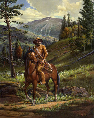 Mountainmen Painting - Jim Bridger - Mountain Man - Frontiersman - Trapper - Wyoming Landscape by Walt Curlee