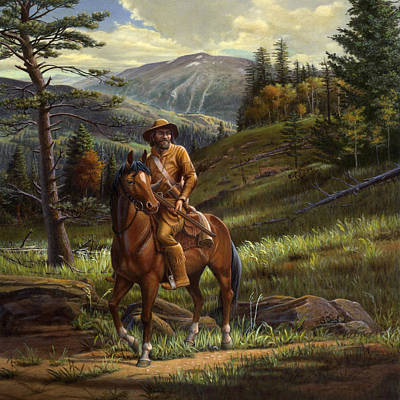 Wyoming Painting - Jim Bridger - Mountain Man - Square Format by Walt Curlee