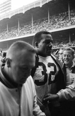 Jim Brown After Game Fans Clapping Art Print by Retro Images Archive