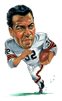 Football Paintings - Jim Brown by Art