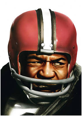Cleveland Browns Football Painting - Jim Brown by Dan Tearle