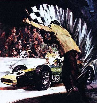 Car Drawing - Jim Clark Wins America's Big Race by James Edwin McConnell