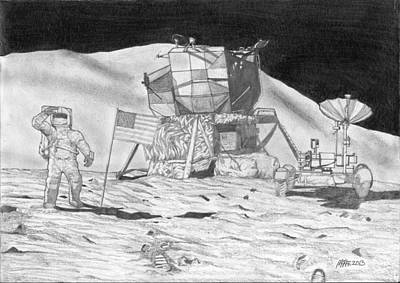 Dave Drawing - Jim Irwin On The Moon Apollo 15 by Paul McRae