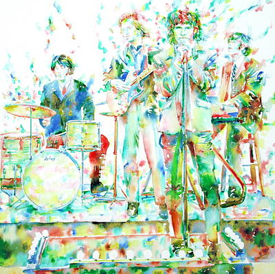 Jim Morrison And The Doors Live On Stage- Watercolor Portrait Art Print by Fabrizio Cassetta