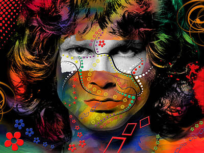 The King Digital Art - Jim Morrison by Mark Ashkenazi