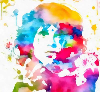 Jim Morrison Paint Splatter Art Print by Dan Sproul