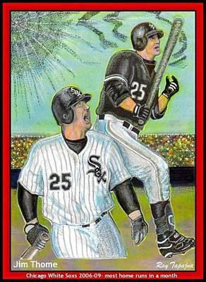 Home Run Hitter Mixed Media - Jim Thome Chicago Power Hitter by Ray Tapajna