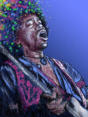 Icons Of Rock Music Digital Art - Jimi 3 by Stan Kwong