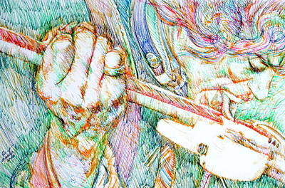 Stratocaster Drawing - Jimi And His Guitar by Fabrizio Cassetta