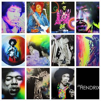 Seventies Painting - Jimi Hendrix - ' Jimi Collage ' by Christian Chapman Art