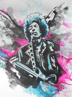 Music Paintings - Jimi Hendrix  01 by Chrisann Ellis