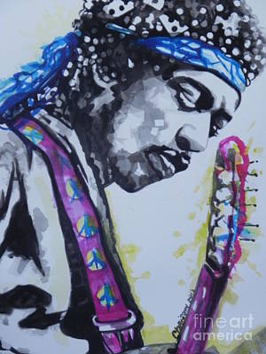 Music Paintings - Jimi Hendrix  02 by Chrisann Ellis