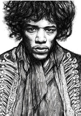 Abstract Pop Drawing - Jimi Hendrix Art Drawing Sketch Portrait by Kim Wang