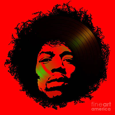 Wine Beer And Alcohol Patents - Jimi Hendrix Black and Red by Kent Taylor