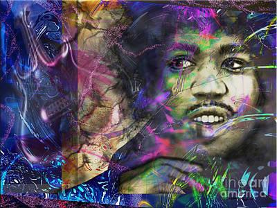 Jimi Hendrix Print by Christine Mayfield