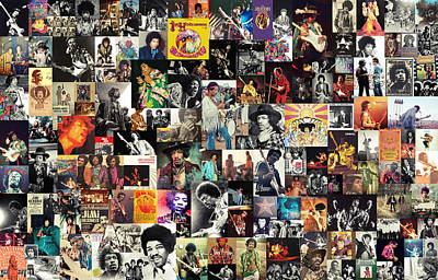 Jimi Hendrix Collage Art Print by Taylan Apukovska