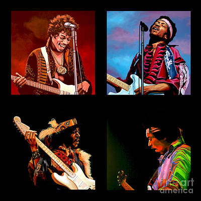Stratocaster Painting - Jimi Hendrix Collection by Paul Meijering