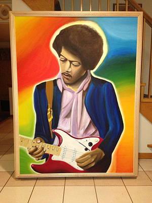 Fender Strat Painting - Jimi Hendrix by Dante Benvenuto-Benjamin Coons