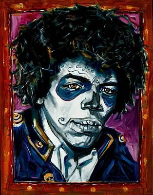 African-american Mixed Media - Jimi Hendrix Day Of The Dead by Jennifer Cahoon
