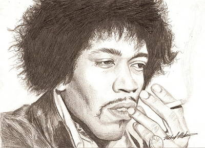Drawing - Jimi Hendrix by Michael Mestas