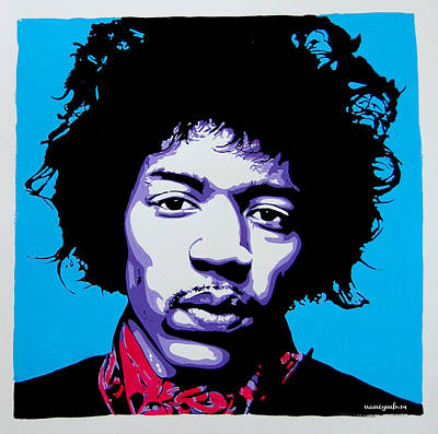Jimi Hendrix Art Print by Nancy Mergybrower
