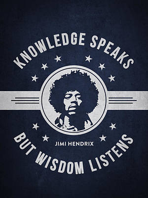 Blues Musician Digital Art - Jimi Hendrix - Navy Blue by Aged Pixel