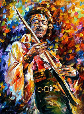 Jimi Hendrix - Palette Knife Oil Painting On Canvas By Leonid Afremov Original by Leonid Afremov