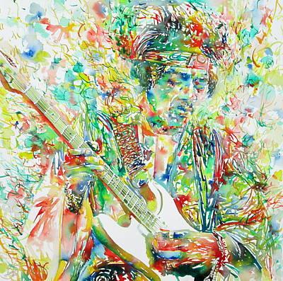 Jimi Hendrix Playing The Guitar Portrait.1 Art Print