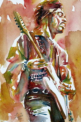 Jimi Hendrix Playing The Guitar Portrait.3 Art Print by Fabrizio Cassetta