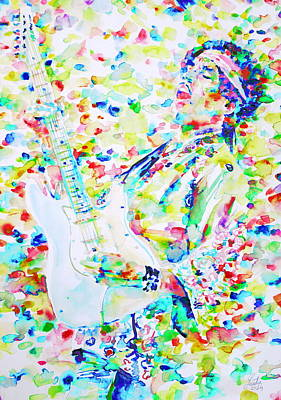 Fender Stratocaster Painting - Jimi Hendrix Playing The Guitar.7 -watercolor Portrait by Fabrizio Cassetta