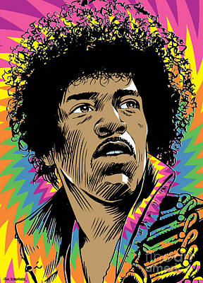 Purple Haze Digital Art - Jimi Hendrix Pop Art by Jim Zahniser