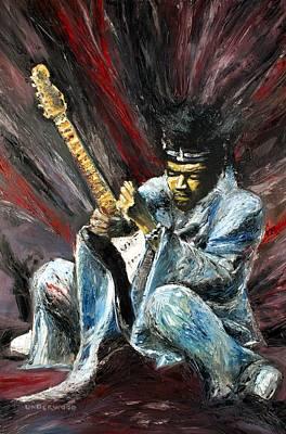 Painting - Jimi Hendrix Purple Haze by Mike Underwood