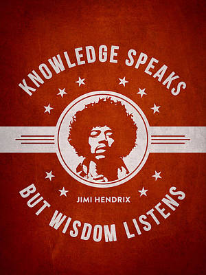 Musician Photos - Jimi Hendrix - Red by Aged Pixel
