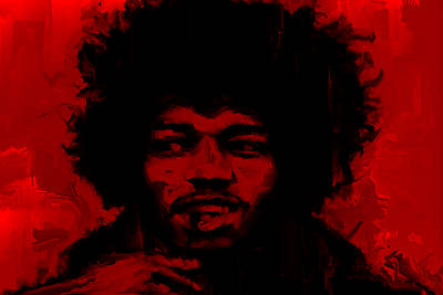 James Marshall Jimi Hendrix Painting - Jimi Hendrix Red by Brian Reaves