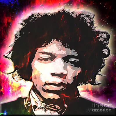 Digital Art - Jimi Hendrix - Up From The Stars by Mynzah Osiris