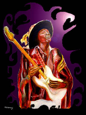 Jimi Hendrix Variations In Purple And Black Art Print by Tom Conway
