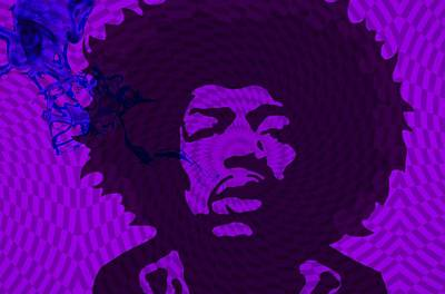 African-american Digital Art - Jimi In Purple by Cindy Edwards
