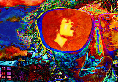 Art Print featuring the digital art Jimi Lives by Mojo Mendiola
