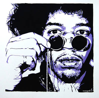 Jimi. Art Print by Nancy Mergybrower