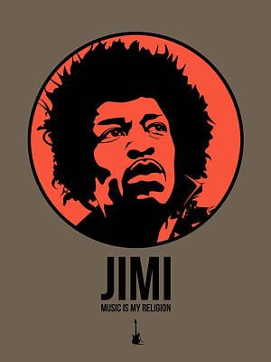 Famous Digital Art - Jimi Poster 1 by Naxart Studio