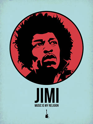 Famous Digital Art - Jimi Poster 2 by Naxart Studio