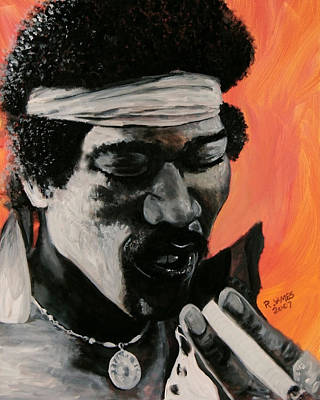 Psychadelic Painting - Jimi2 by Roger  James