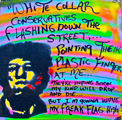 Free Speech Painting - Jimi's Freak Flag by Tony B Conscious