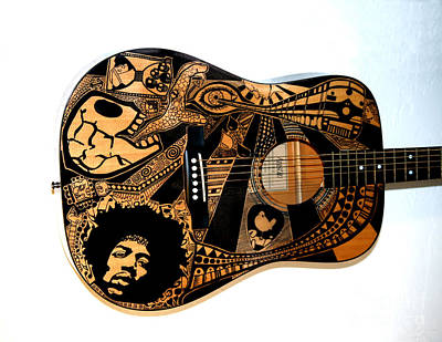 Sharpie Art Drawing - Jimi's Guitar by The Art Of Rido
