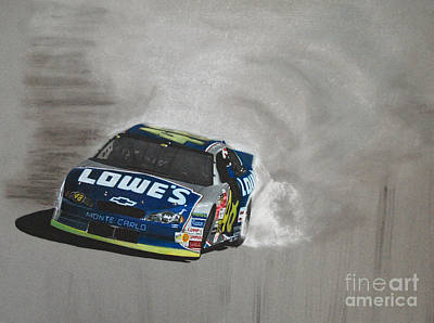 Transportation Drawings - Jimmie Johnson-Victory burnout by Paul Kuras