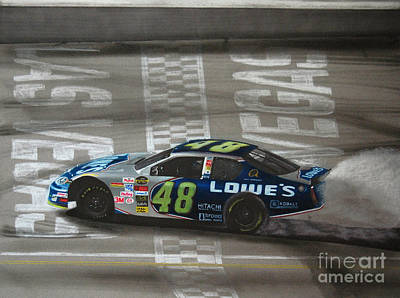 Jimmie Johnson Wins At Las Vegas Art Print by Paul Kuras