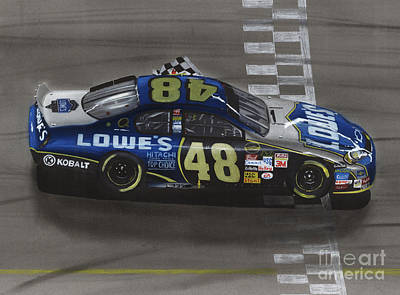 Racing Drawing - Jimmie Johnson Wins by Paul Kuras